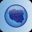 country, europa, europe, map, maps, poland icon
