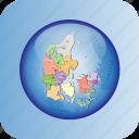 denmark, europe, european, map, maps, political regions in denmark, region icon