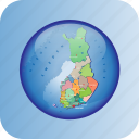europe, european, finland, map, maps, political regions, regions icon