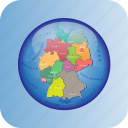 europe, european, germany, map, maps, political regions, regions icon