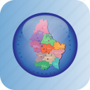 europe, european, luxembourg, map, maps, political regions icon