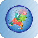 europe, european, holland, map, maps, netherland, regions icon
