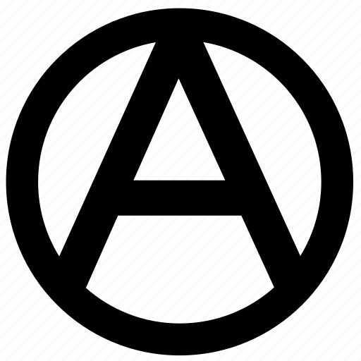 anarchy, label, political, sign icon