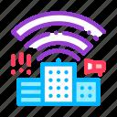 building, radiowaves icon icon