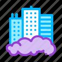 building, skyscraper, smog icon