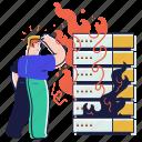 error, server, machine, meltdown, fire, burn, damage