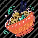 food, noodles, chopsticks, bowl, meal, vegetable, restaurant, gastronomy