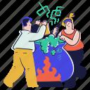 science, experiment, formula, potion, cauldron, woman, man