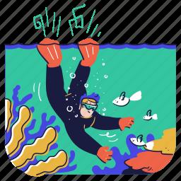 sports, diving, diver, sea, ocean, fish, coral, reef, animal, nature