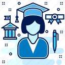 certificate, educate, education, girl, graduate, graduation, learn icon