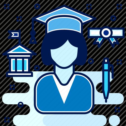 certificate, educate, education, girl, graduate, graduation, learn icon