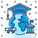 degree, distance, education, global, graduation, learning icon