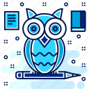 classroom, education, owl, pencil, smart, teacher icon