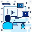 class, lecture, media, player, seminar, tutorial, video icon