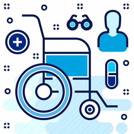 hospital, ill, patient, wheelchair icon