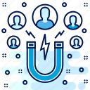 customer, user, attract, magnet icon