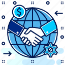 agreement, contract, deal, global, handshake, partnership icon