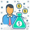 businessman, cash, investment, investor, money, revenue icon