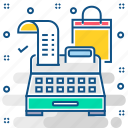 billing machine, cash, invoice, invoice machine, printing machine icon