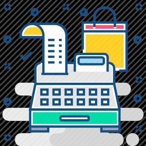 billing machine, cash, invoice, invoice machine, printing machine icon