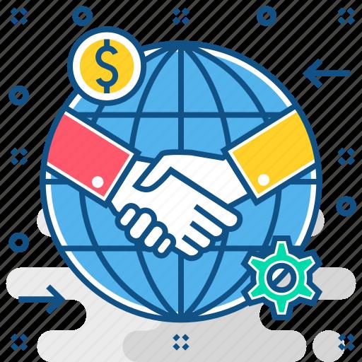 agreement, deal, finance, global, handshake, partnership icon