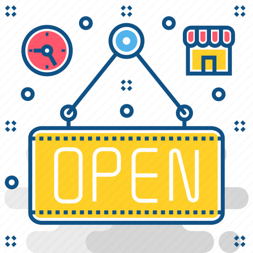 board, open, shop, signboard icon
