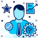 business, employee, growth, star icon