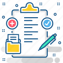 document, healthcare, medical, medicine, record, reports, treatment icon