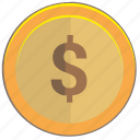 coin, dollar, gold, money, usa, usd icon