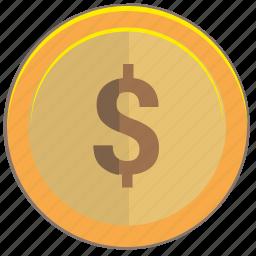 coin, dollar, gold, money, usa, usd icon