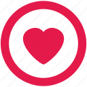 circle, heart, like, love, round icon