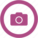 camera, digital, photo, round icon