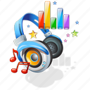 downloads, headphones, music, statistics, stats icon