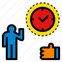 like, on, prompt, punctual, time icon