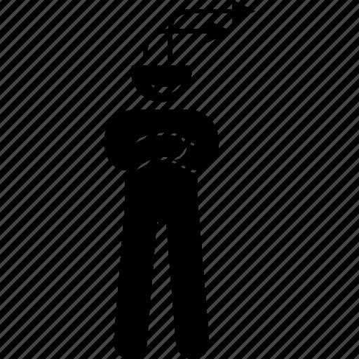 arrow, brain, direct, direction, head, person icon