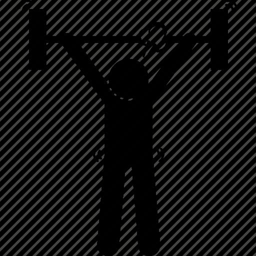 endurance, lifting, man, persistent icon