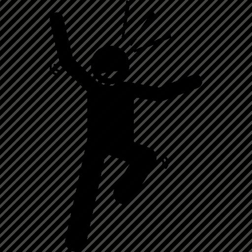 exuberant, happy, joyous, jumping, man icon