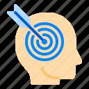 brain, business, focus, goal, head, mind, target, think icon
