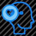 brain, fall, head, heart, love, mind, think icon