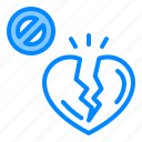 arrow, broken, depression, down, heart, no icon