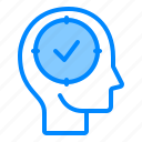 brain, check, concentration, head, mind, think, tick icon