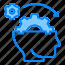 brain, gear, head, mind, think, thinking icon