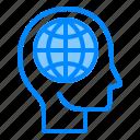 brain, globally, head, mind, think icon