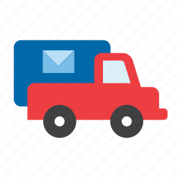 lorry, mail, post, service, transport, truck, van icon