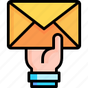 email, envelope, send, hand, contact