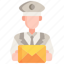 postman, envelope, user, man, professions icon
