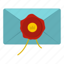 envelope, letter, mail, mark, message, seal, wax icon