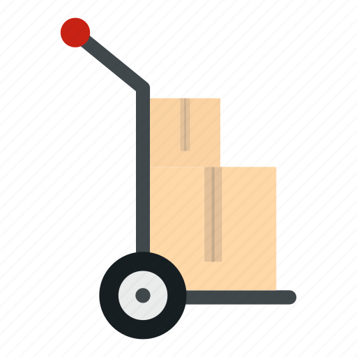 cardboard, cargo, cart, dolly, freight, package, post icon