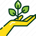 eco, hand, nature, plant, power, save, tree icon