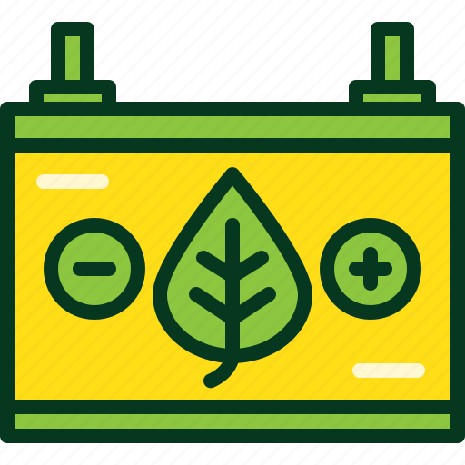 battery, car, electric, energy, green, leaf, power icon